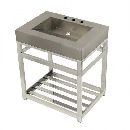 """Fauceture 31"""" Stainless Steel Sink with Steel Console Sink Base, Brushed/Polished Nickel"""