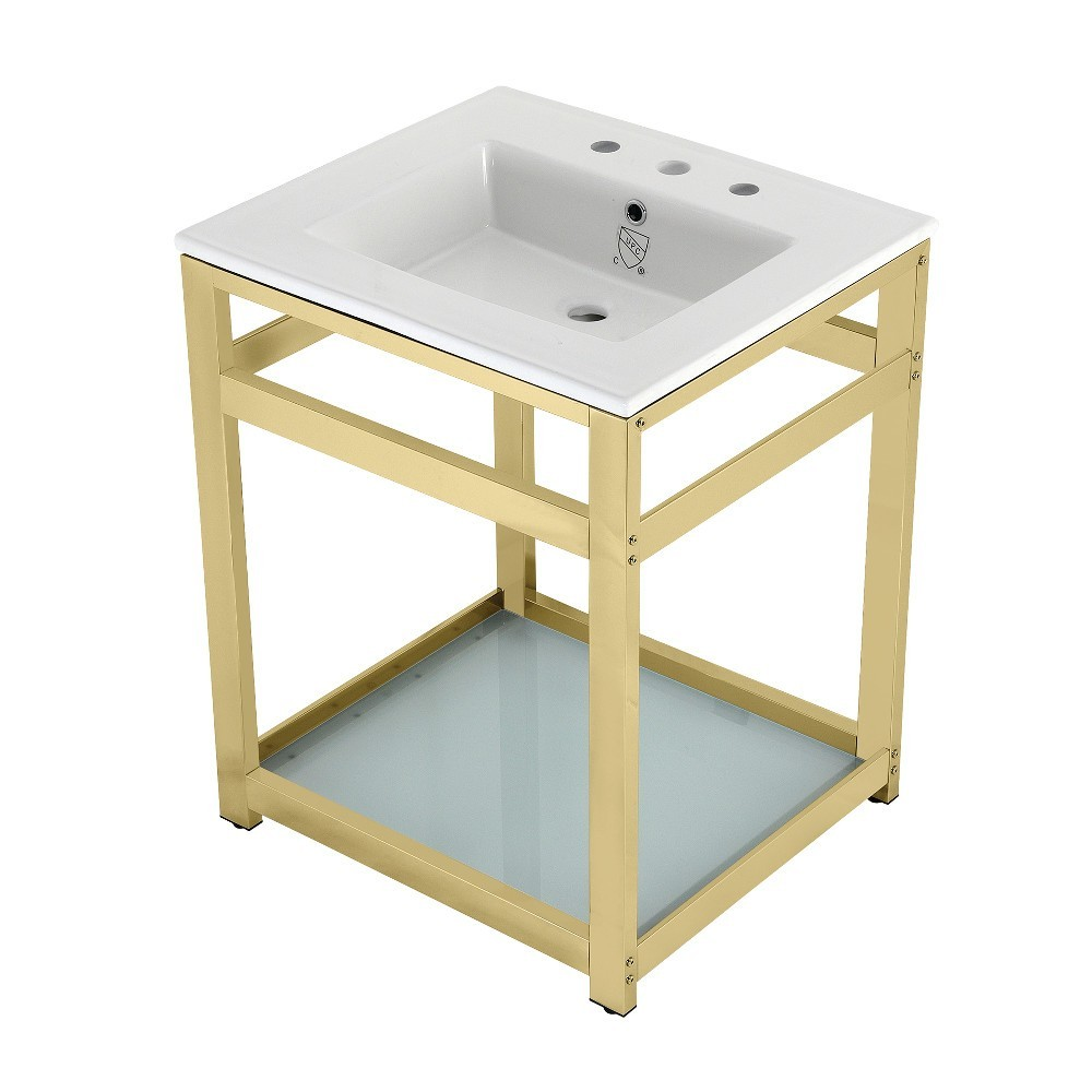 25-Inch Ceramic Console Sink (8-Inch, 3-Hole), White/Polished Brass