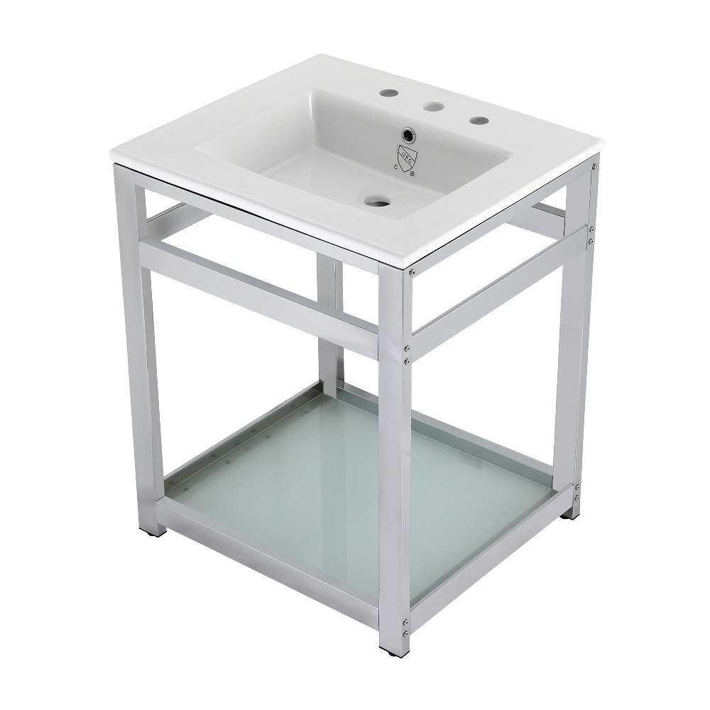 25-Inch Ceramic Console Sink (8-Inch, 3-Hole), White/Chrome