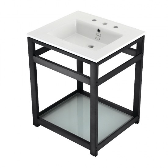 25-Inch Ceramic Console Sink (8-Inch, 3-Hole), White/Matte Black