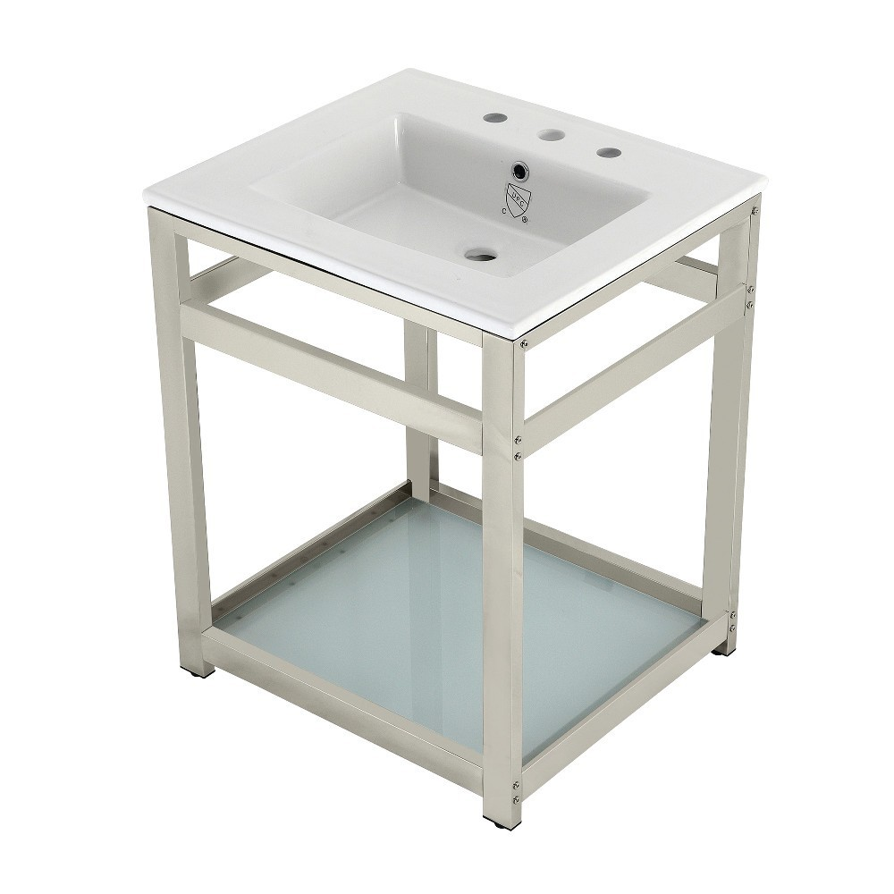 25-Inch Ceramic Console Sink (8-Inch, 3-Hole), White/Polished Nickel