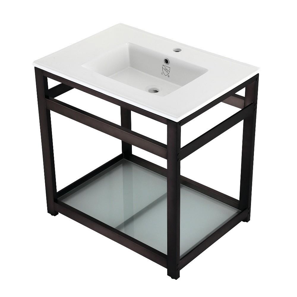 31-Inch Ceramic Console Sink (1-Hole), White/Oil Rubbed Bronze