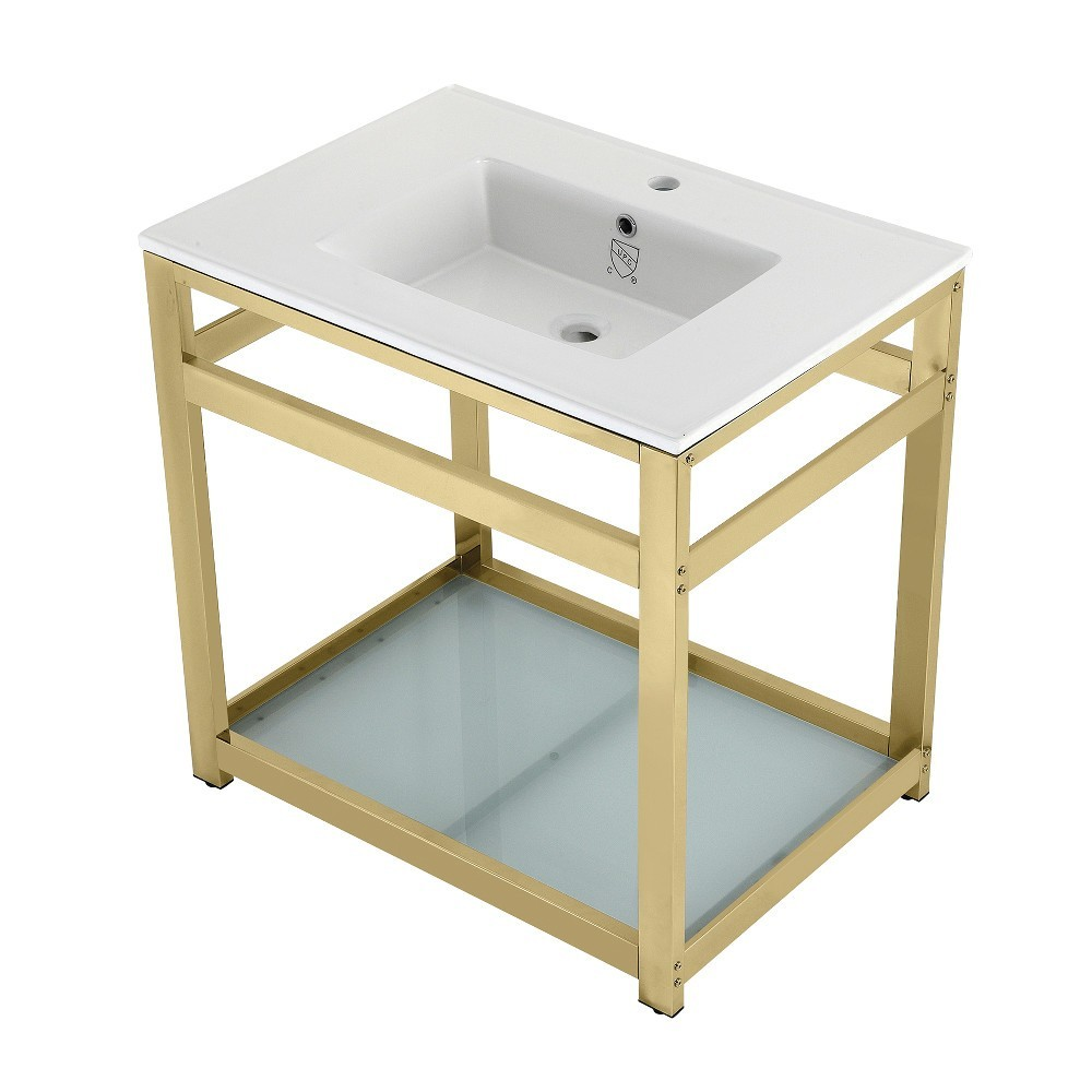 31-Inch Ceramic Console Sink (1-Hole), White/Polished Brass