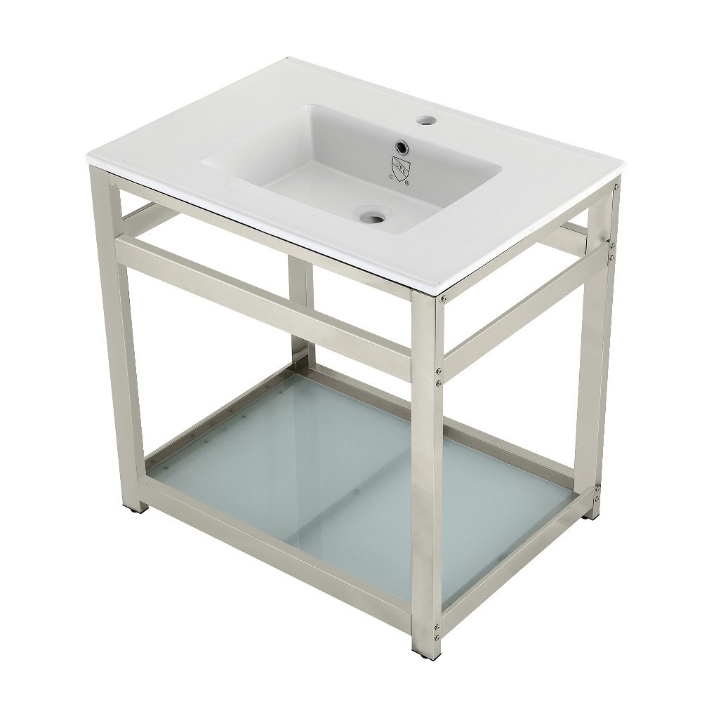 31-Inch Ceramic Console Sink (1-Hole), White/Polished Nickel