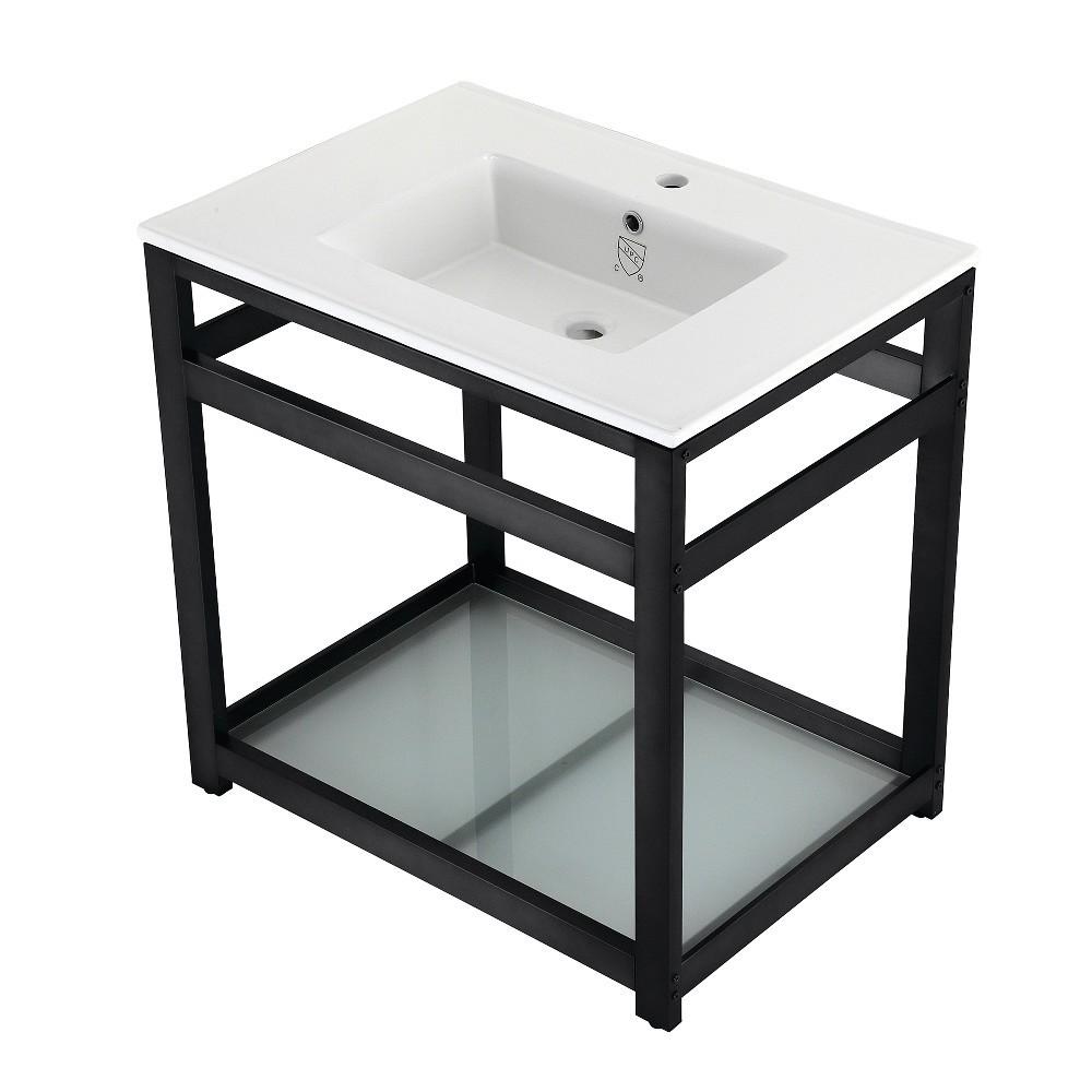 31-Inch Ceramic Console Sink (1-Hole), White/Matte Black