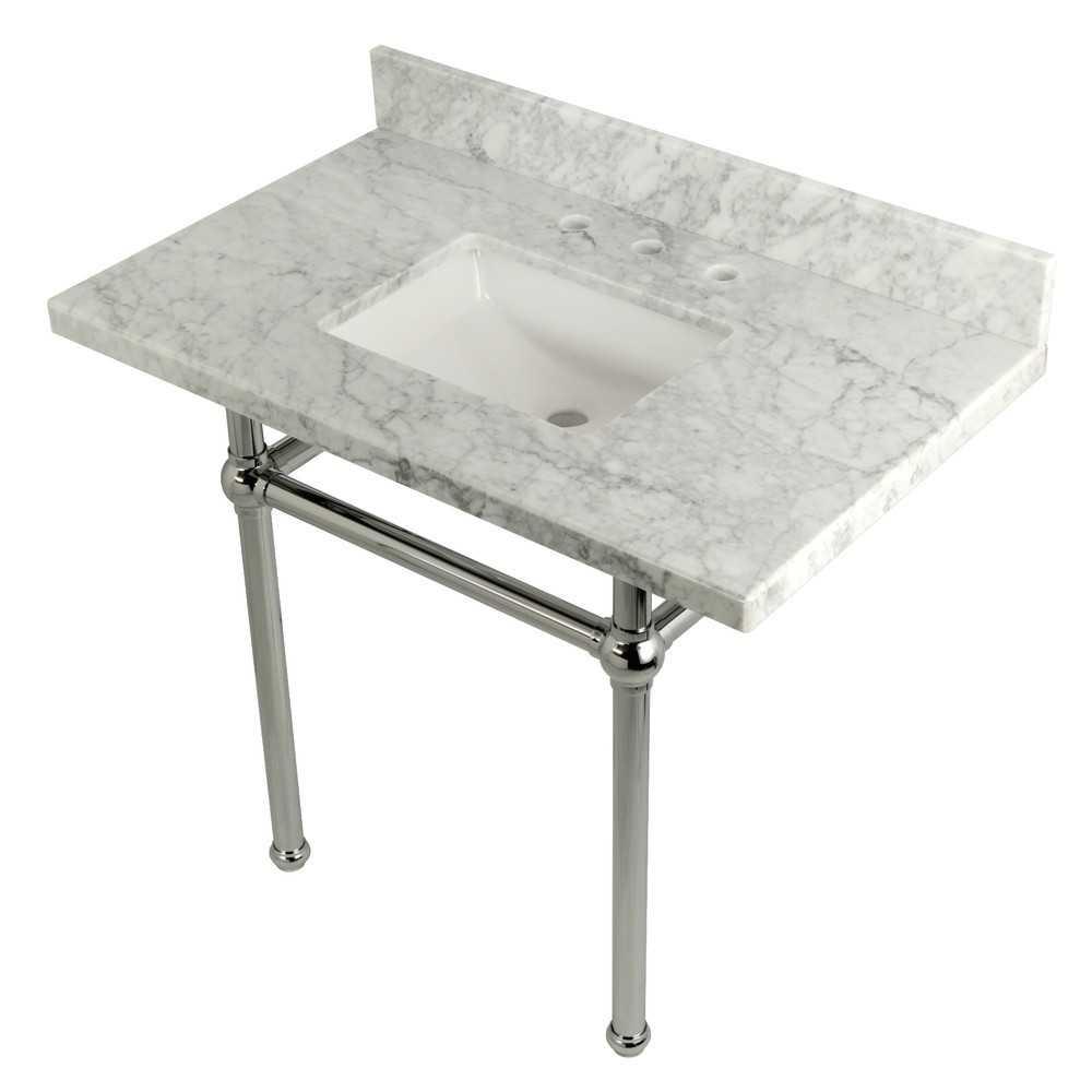 Templeton 36X22 Carrara Marble Vanity Top with Brass Feet Combo, Carrara Marble/Polished Chrome