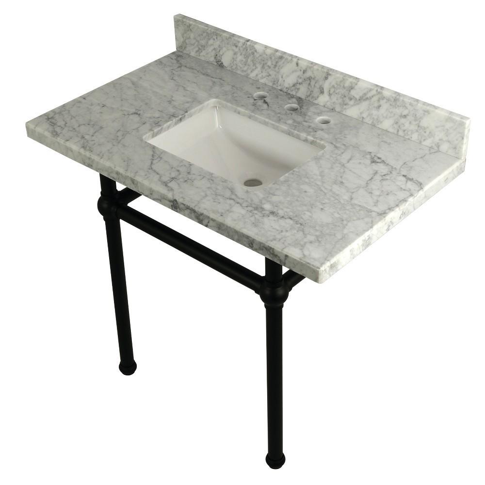 Templeton 36X22 Carrara Marble Vanity Top with Brass Feet Combo, Carrara Marble/Matte Black