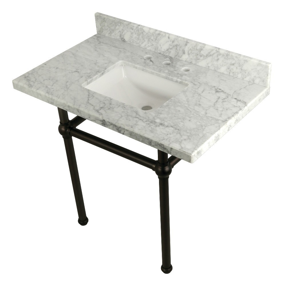 Templeton 36X22 Carrara Marble Vanity Top with Brass Feet Combo, Carrara Marble/Oil Rubbed Bronze