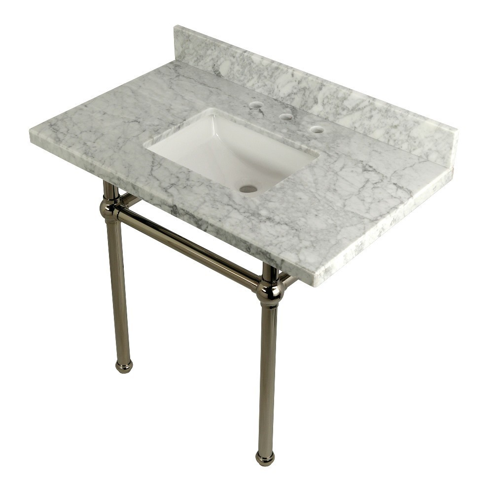 Templeton 36X22 Carrara Marble Vanity Top with Brass Feet Combo, Carrara Marble/Polished Nickel