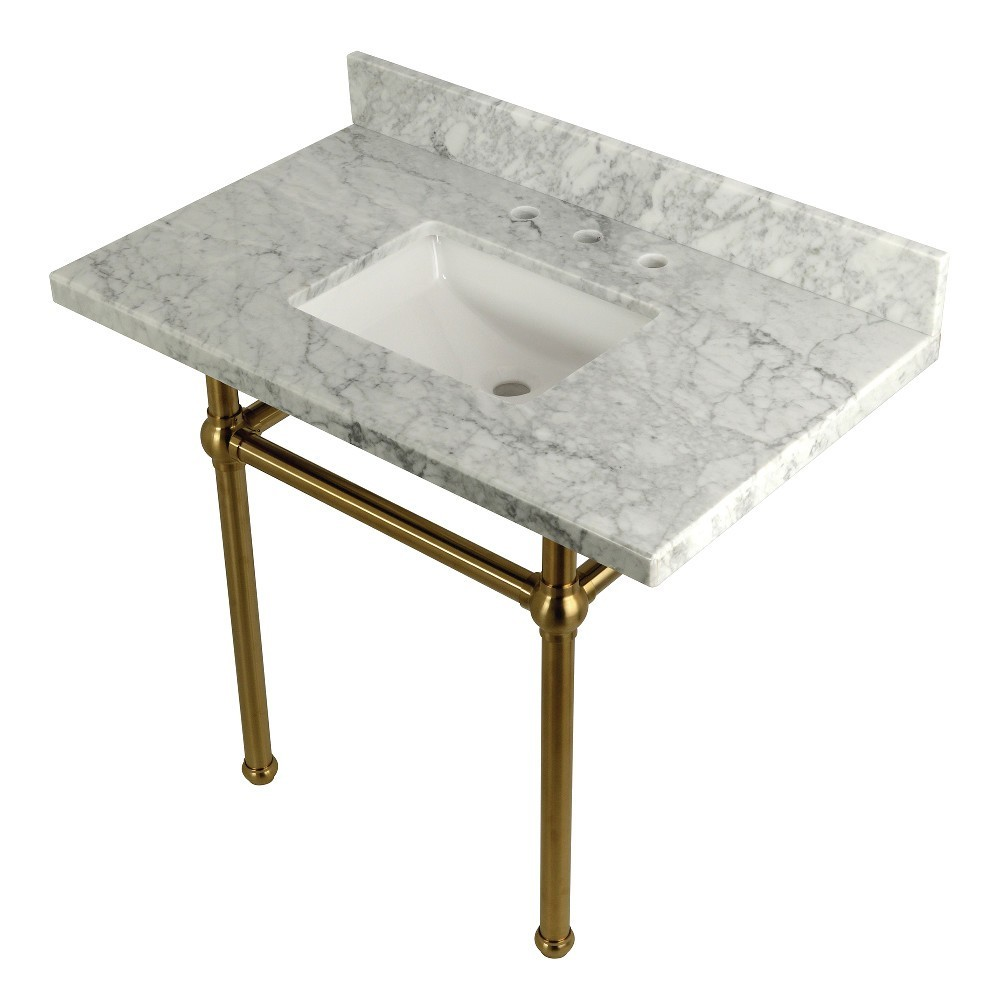 Templeton 36X22 Carrara Marble Vanity Top with Brass Feet Combo, Carrara Marble/Brushed Brass