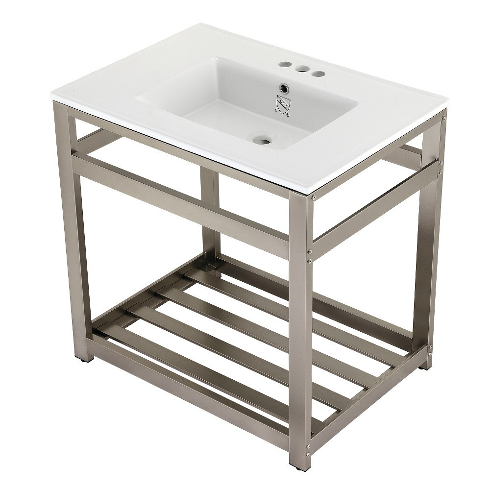 31-Inch Ceramic Console Sink (4-Inch, 3-Hole), White/Brushed Nickel