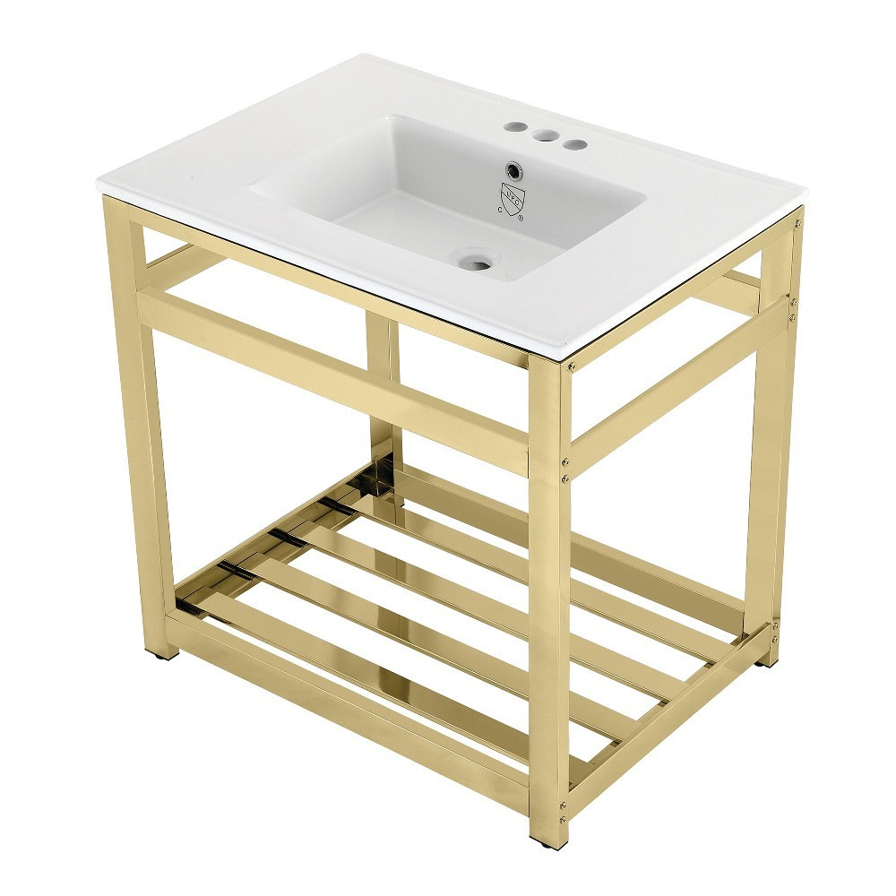 31-Inch Ceramic Console Sink (4-Inch, 3-Hole), White/Polished Brass