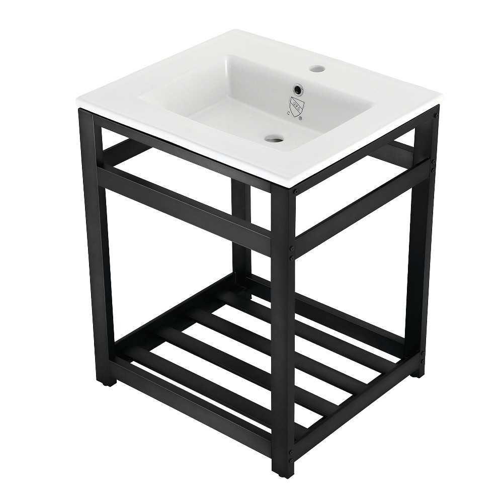 25-Inch Ceramic Console Sink (1-Hole), White/Matte Black