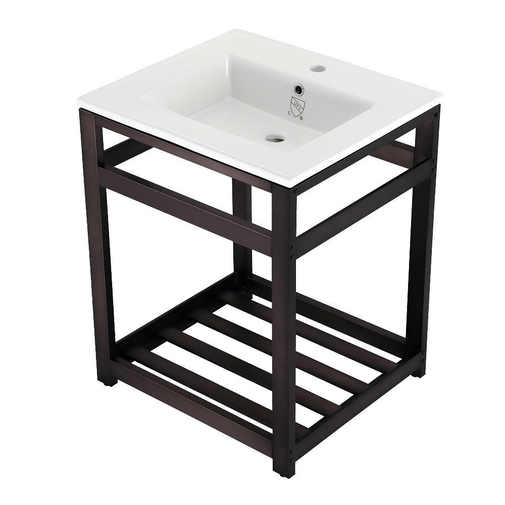 25-Inch Ceramic Console Sink (1-Hole), White/Oil Rubbed Bronze
