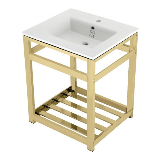 25-Inch Ceramic Console Sink (1-Hole), White/Polished Brass