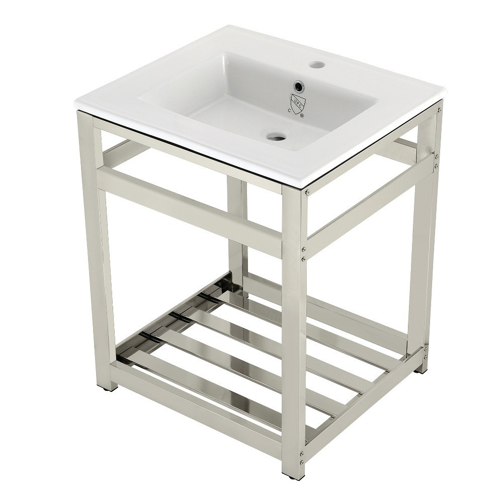 25-Inch Ceramic Console Sink (1-Hole), White/Polished Nickel