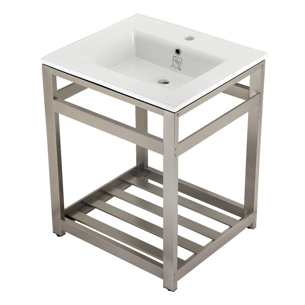 25-Inch Ceramic Console Sink (1-Hole), White/Brushed Nickel