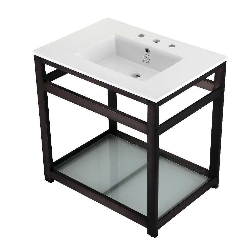 31-Inch Ceramic Console Sink (8-Inch, 3-Hole), White/Oil Rubbed Bronze