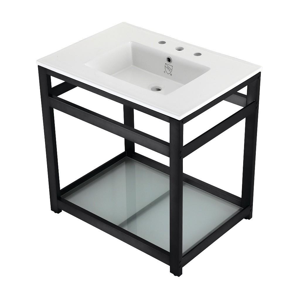 31-Inch Ceramic Console Sink (8-Inch, 3-Hole), White/Matte Black