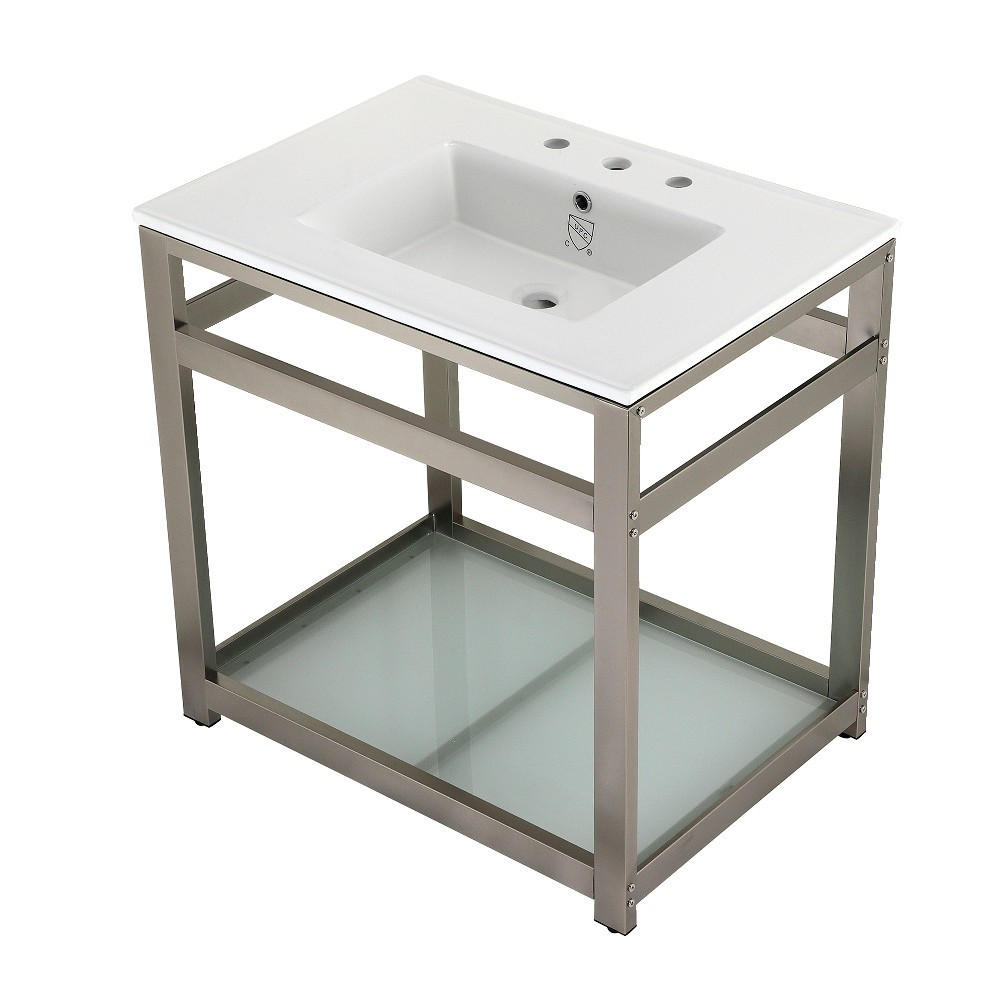 31-Inch Ceramic Console Sink (8-Inch, 3-Hole), White/Brushed Nickel