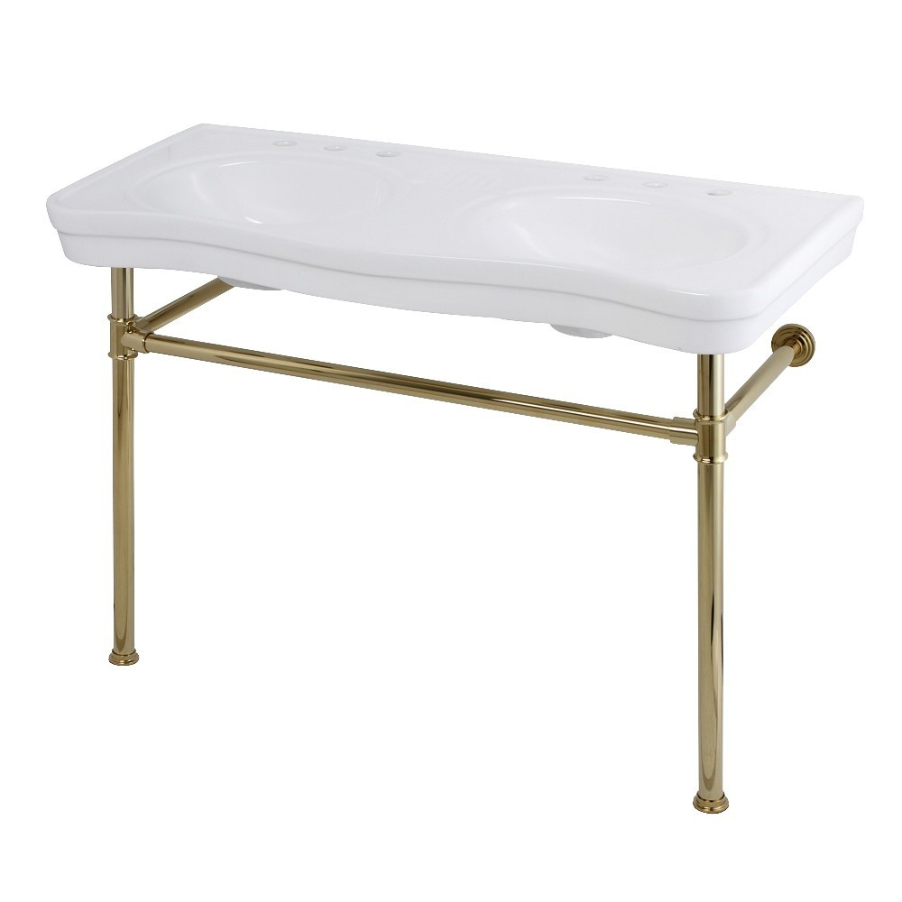 Fauceture  Imperial 47-Inch Double Bowl Console Sink with Stainless Steel Leg, Polished Brass
