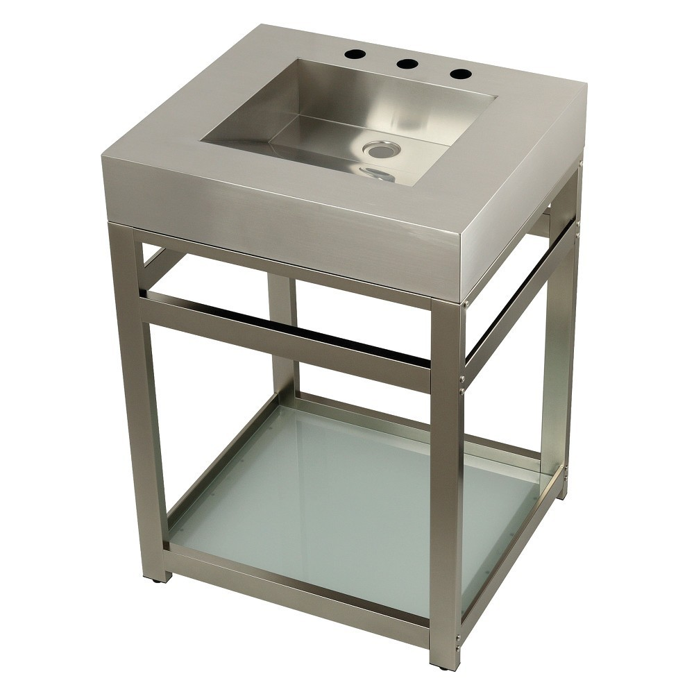 """Fauceture 25"""" Stainless Steel Sink with Steel Console Sink Base, Brushed/Brushed Nickel"""