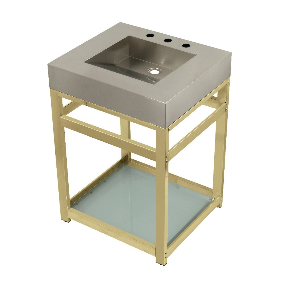"""Fauceture 25"""" Stainless Steel Sink with Steel Console Sink Base, Brushed/Polished Brass"""