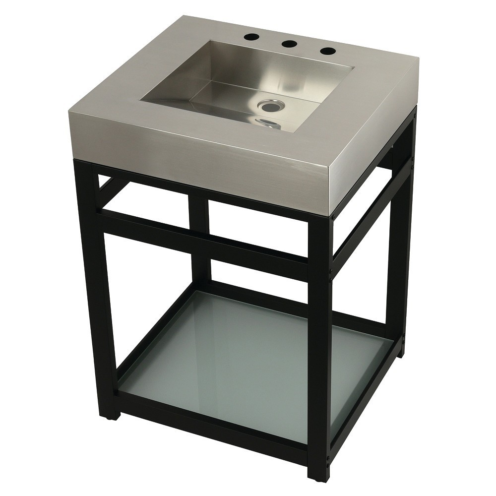 """Fauceture 25"""" Stainless Steel Sink with Steel Console Sink Base, Brushed/Matte Black"""