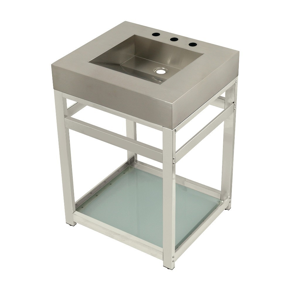 """Fauceture 25"""" Stainless Steel Sink with Steel Console Sink Base, Brushed/Polished Nickel"""