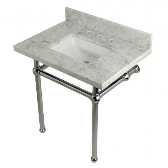 Templeton 30X22 Carrara Marble Vanity Top with Brass Feet Combo, Carrara Marble/Polished Chrome
