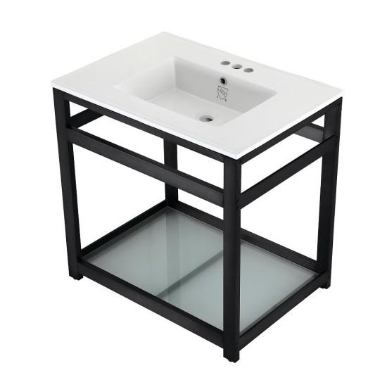 31-Inch Ceramic Console Sink (4-Inch, 3-Hole), White/Matte Black