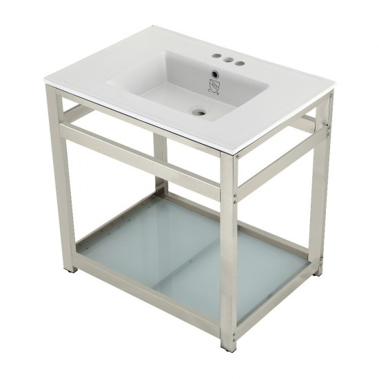 31-Inch Ceramic Console Sink (4-Inch, 3-Hole), White/Polished Nickel