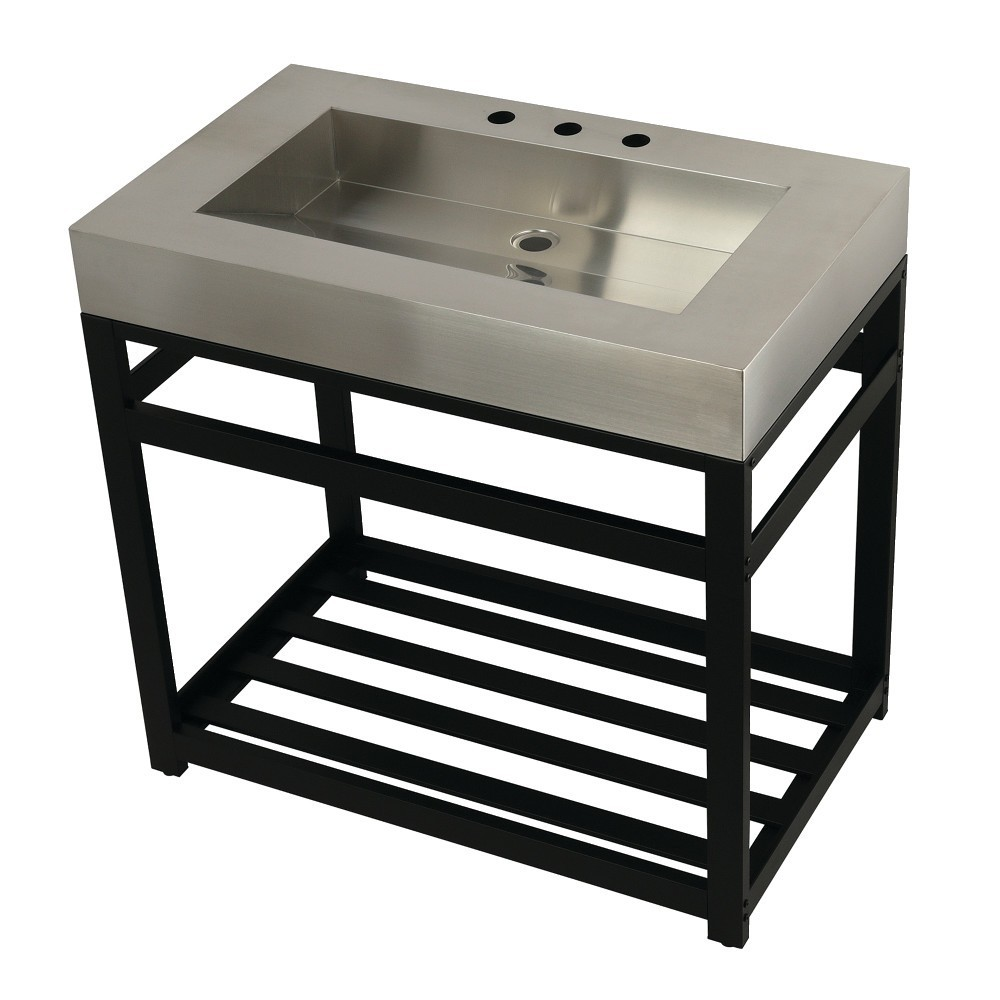 """Fauceture 37"""" Stainless Steel Sink with Steel Console Sink Base, Brushed/Matte Black"""