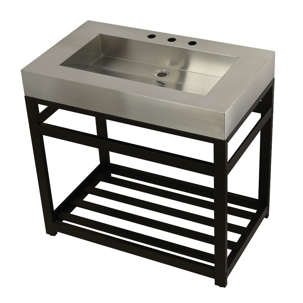 """Fauceture 37"""" Stainless Steel Sink with Steel Console Sink Base, Brushed/Oil Rubbed Bronze"""