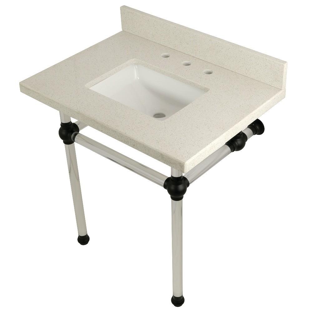 "Templeton 30"" x 22"" White Quartz Console Sink with Clear Acrylic Feet, White Quartz/Matte Black"