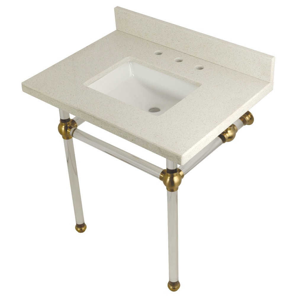 """Templeton 30"""" x 22"""" White Quartz Console Sink with Clear Acrylic Feet, White Quartz/Brushed Brass"""