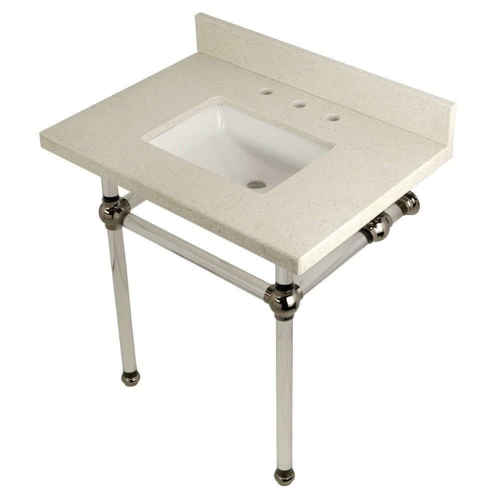 "Templeton 30"" x 22"" White Quartz Console Sink with Clear Acrylic Feet, White Quartz/Polished Nickel"