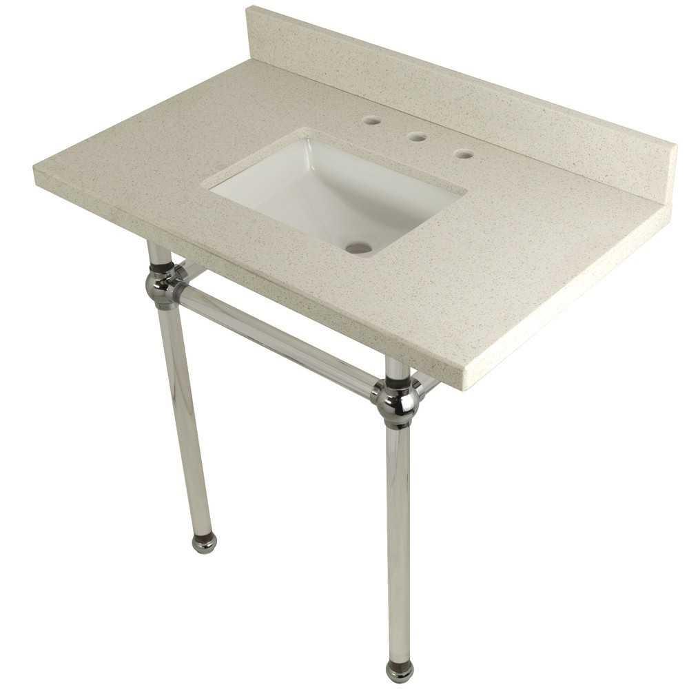 "Templeton 36"" x 22"" White Quartz Console Sink with Clear Acrylic Feet, White Quartz/Polished Chrome"
