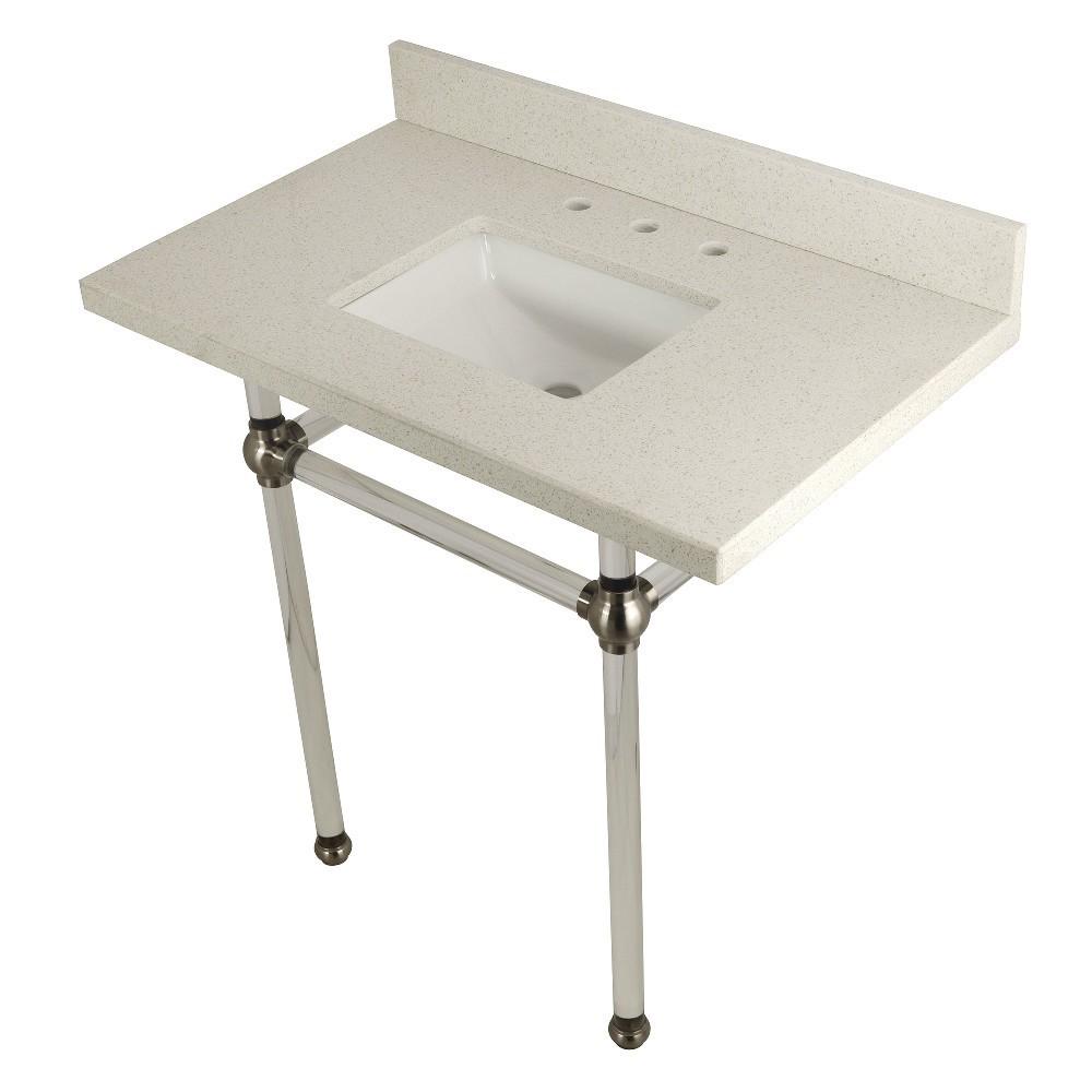 "Templeton 36"" x 22"" White Quartz Console Sink with Clear Acrylic Feet, White Quartz/Brushed Nickel"