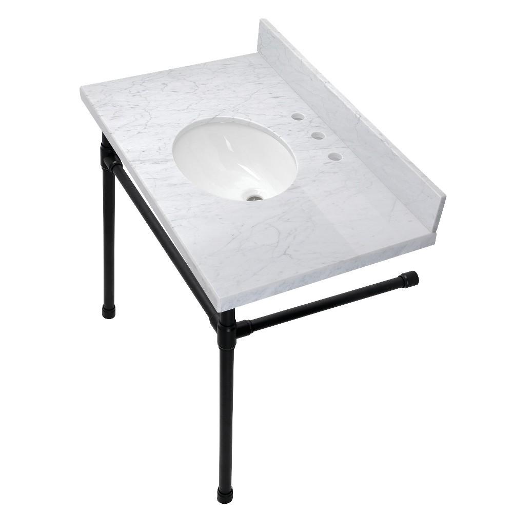 Dreyfuss 36-Inch Console Sink Set, Marble White/Matte Black