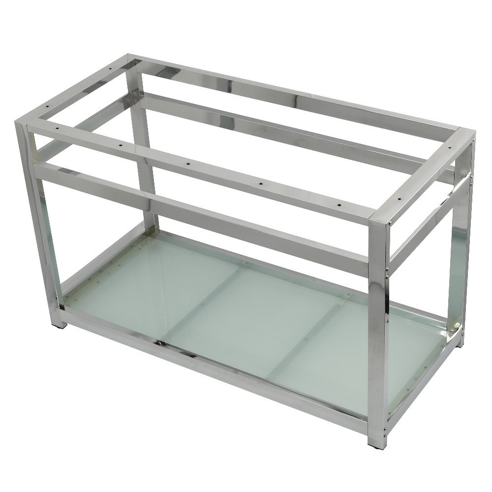 Fauceture  Kingston Commercial 49-Inch x 22-Inch Console Sink Base with Glass Shelf, Polished Chrome
