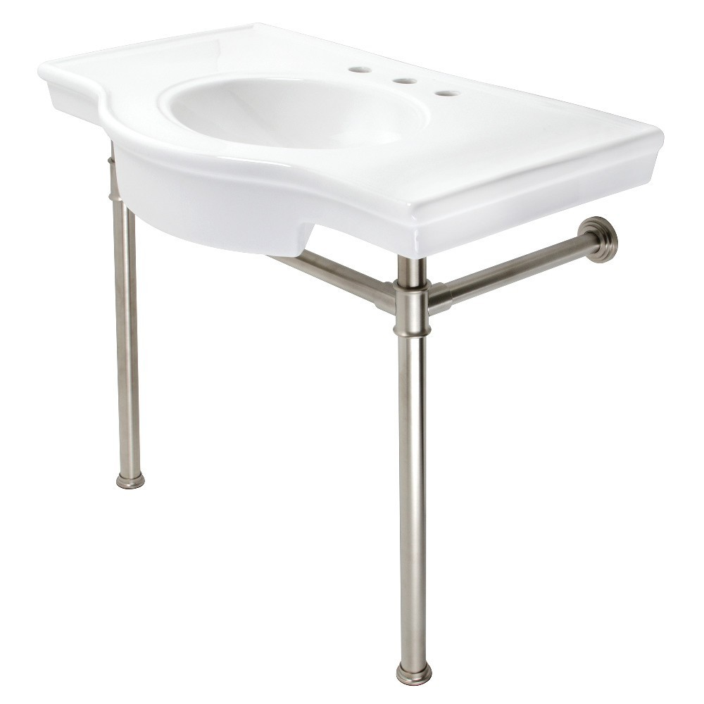 """Fauceture  Templeton 37"""" Ceramic Console Table with Stainless Steel Legs, White/Brushed Nickel"""