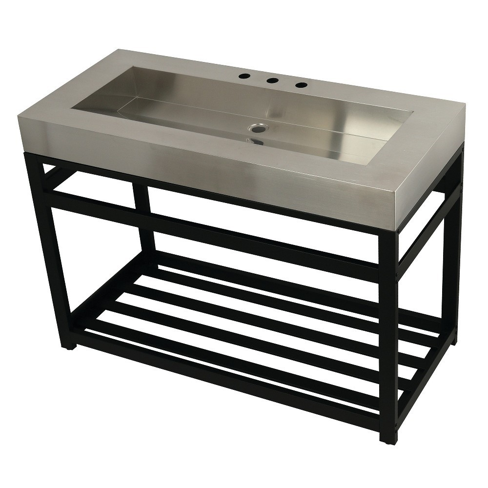 """Fauceture 49"""" Stainless Steel Sink with Steel Console Sink Base, Brushed/Matte Black"""