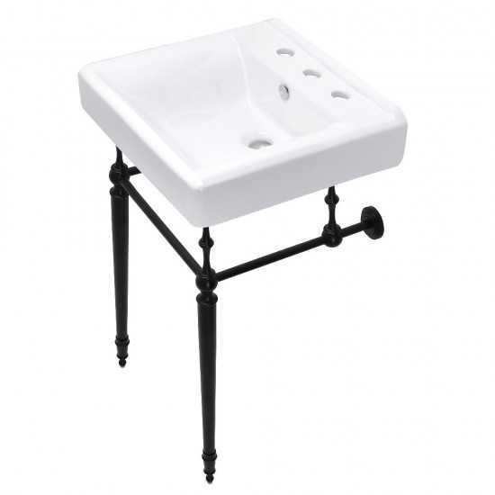 Edwardian 20-Inch Console Sink Set, Matte Black
