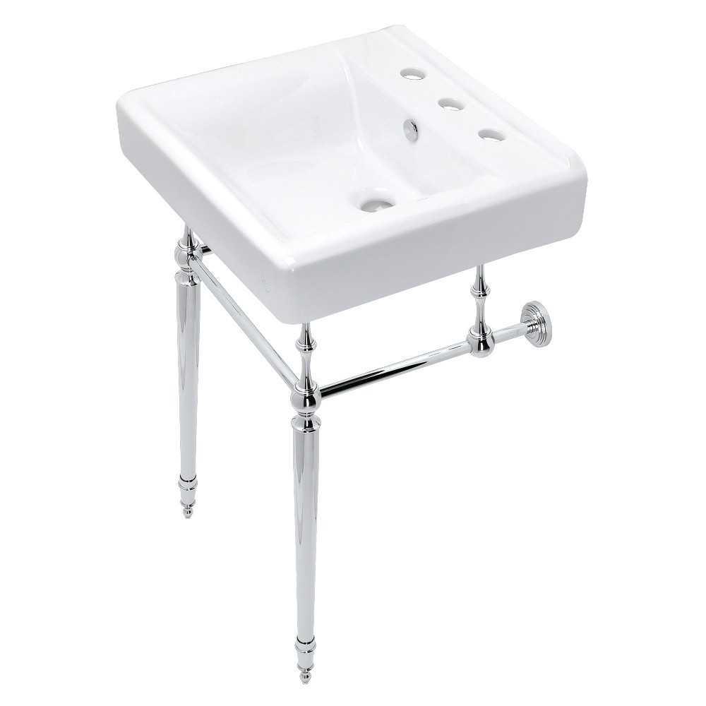 Edwardian 20-Inch Console Sink Set, Polished Chrome