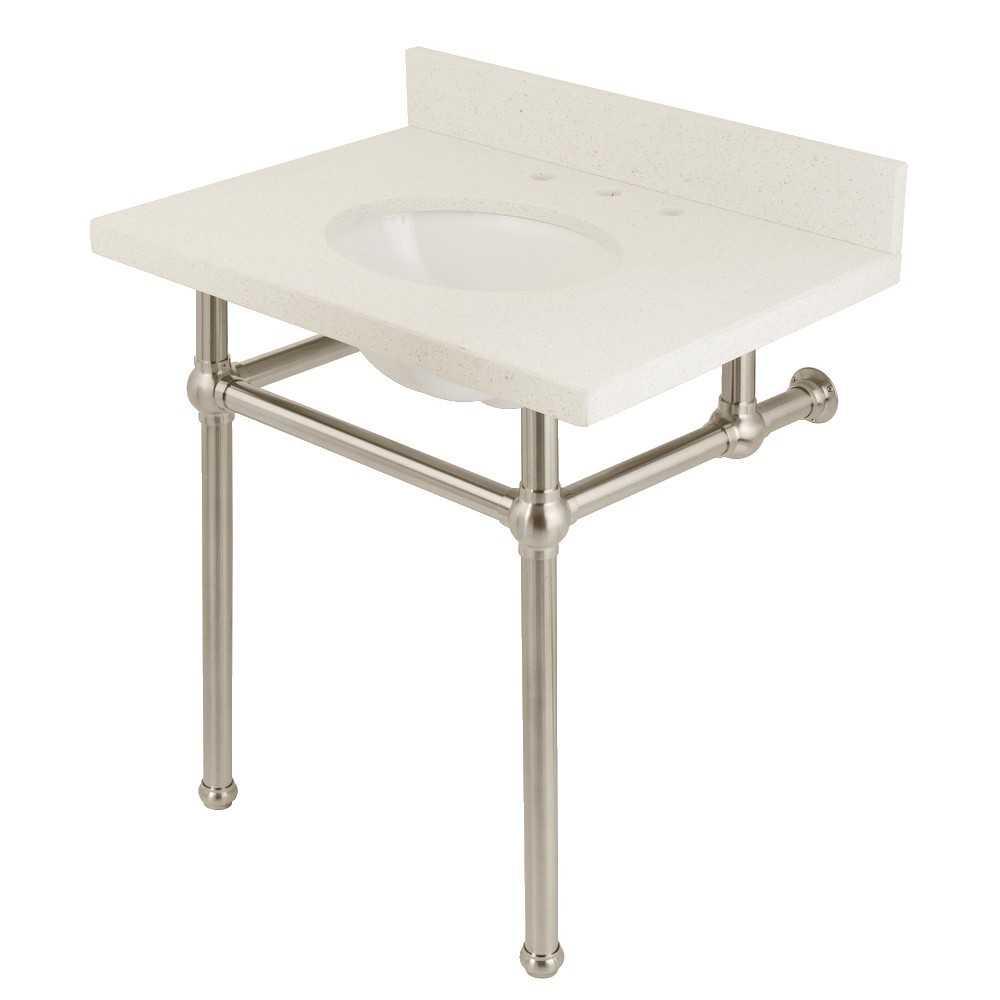 "Templeton 30"" x 22"" White Quartz Console Sink with Brass Feet, White Quartz/Brushed Nickel"