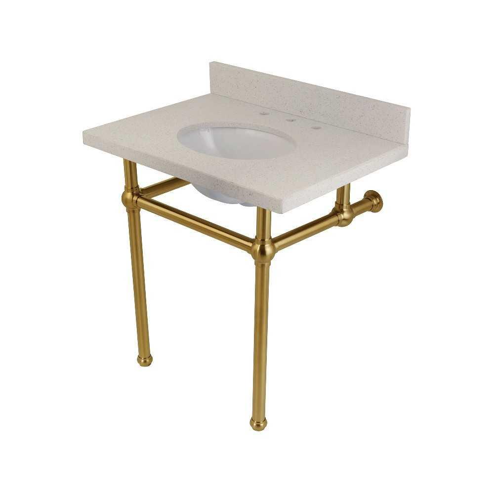 "Templeton 30"" x 22"" White Quartz Console Sink with Brass Feet, White Quartz/Brushed Brass"