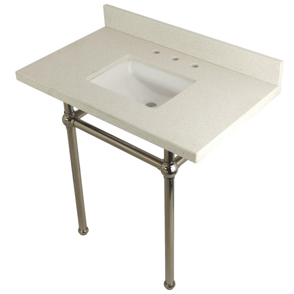 "Templeton 36"" x 22"" White Quartz Console Sink with Brass Feet, White Quartz/Polished Nickel"