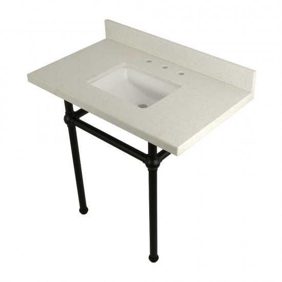 "Templeton 36"" x 22"" White Quartz Console Sink with Brass Feet, White Quartz/Matte Black"