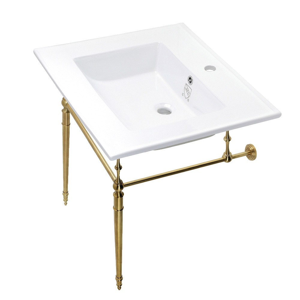 Edwardian 25-Inch Console Sink Set, White/Brushed Brass